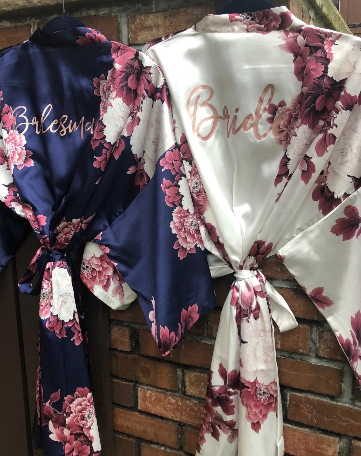 NEW Colors Bridesmaid Robes Floral Kimono Robe Bridal image 2