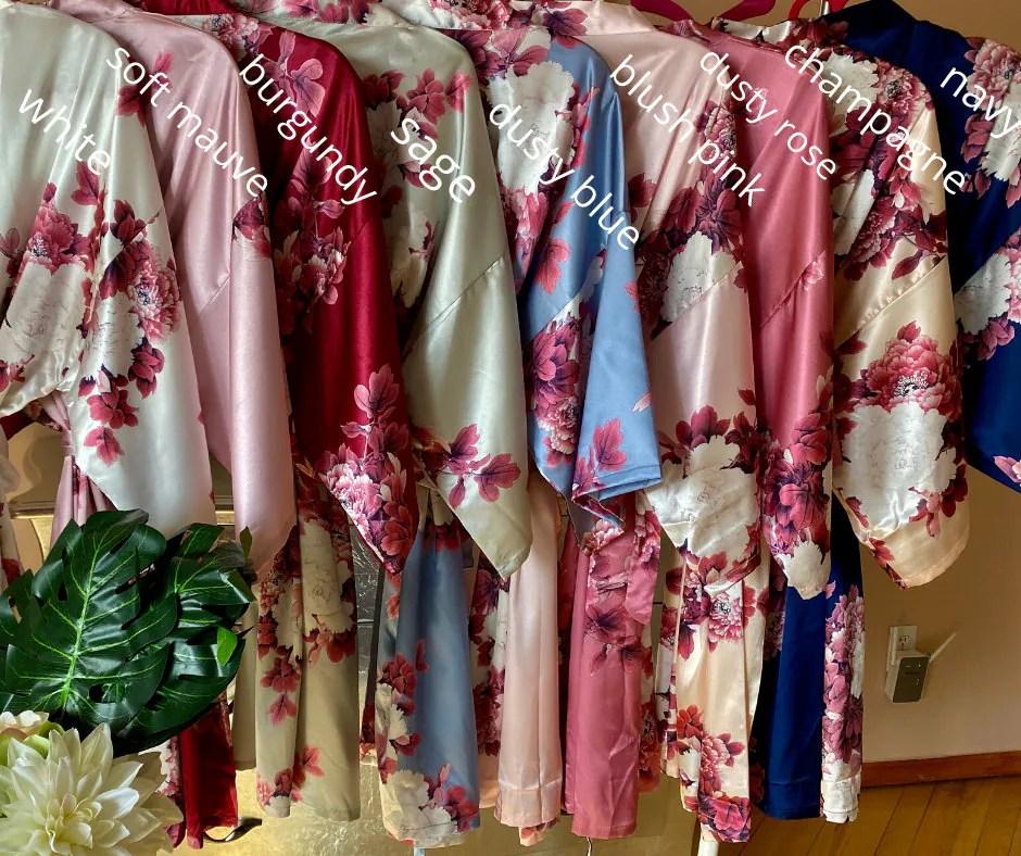 NEW Colors Bridesmaid Robes Floral Kimono Robe Bridal image 9