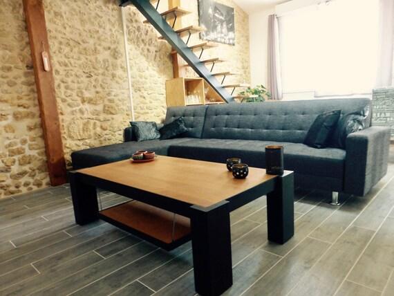 table basse acier et bois