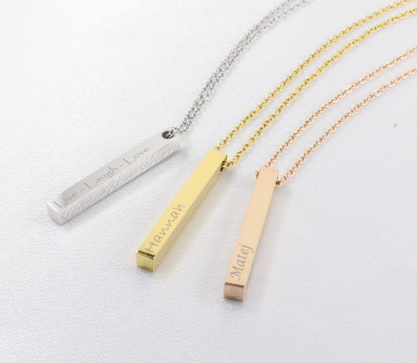 Personalized jewelry bar necklace custom laser engraved image 1