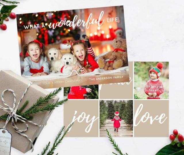 Wonderful Life Christmas Greeting Card Kids Christmas Photo Christmas Card Photo Christmas Cards Photoshop Christmas Card Template