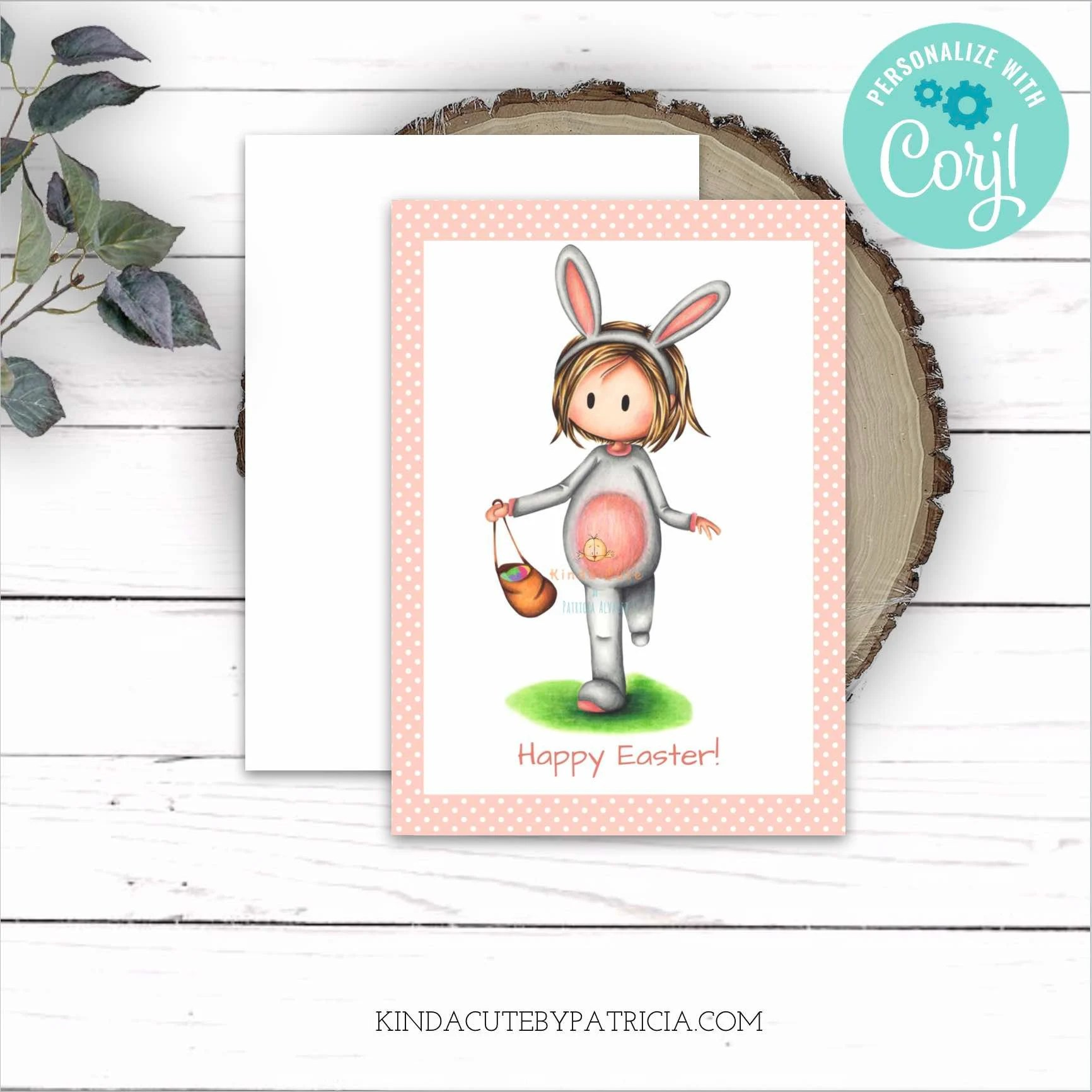 Pink Happy Easter Printable Card With A Girl In A Rabbit