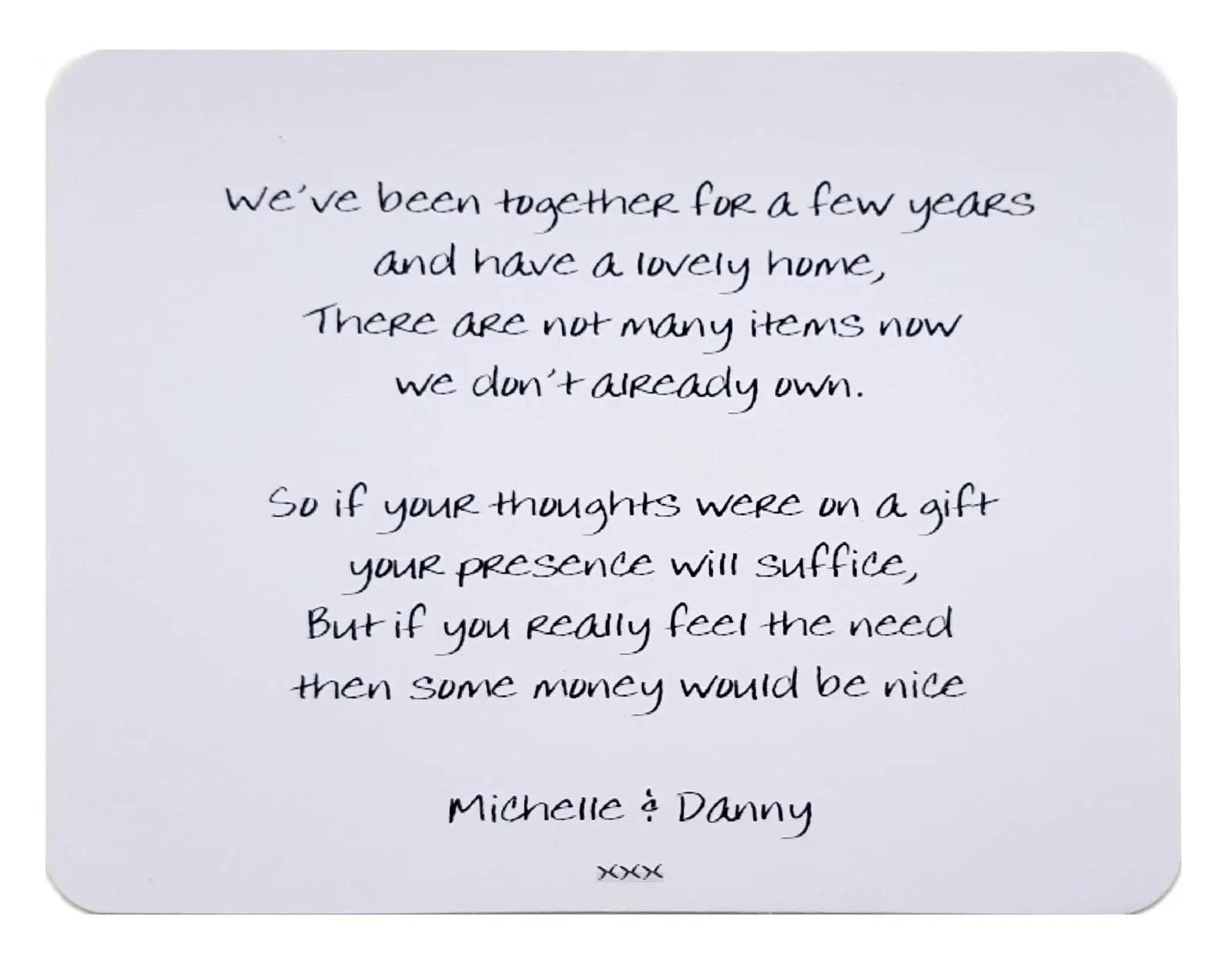 10 X Personalised Gift Poem Cards / Wedding Money Wish