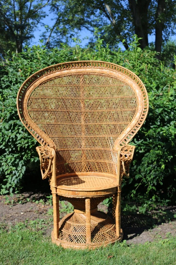 Peacock chair   Etsy Vintage Emmanuelle Peacock Chair  rattan  wicker  mid century  boho  LOCAL  P U Chicago  NO Free Shipping  Buyer Arranges All Shipping