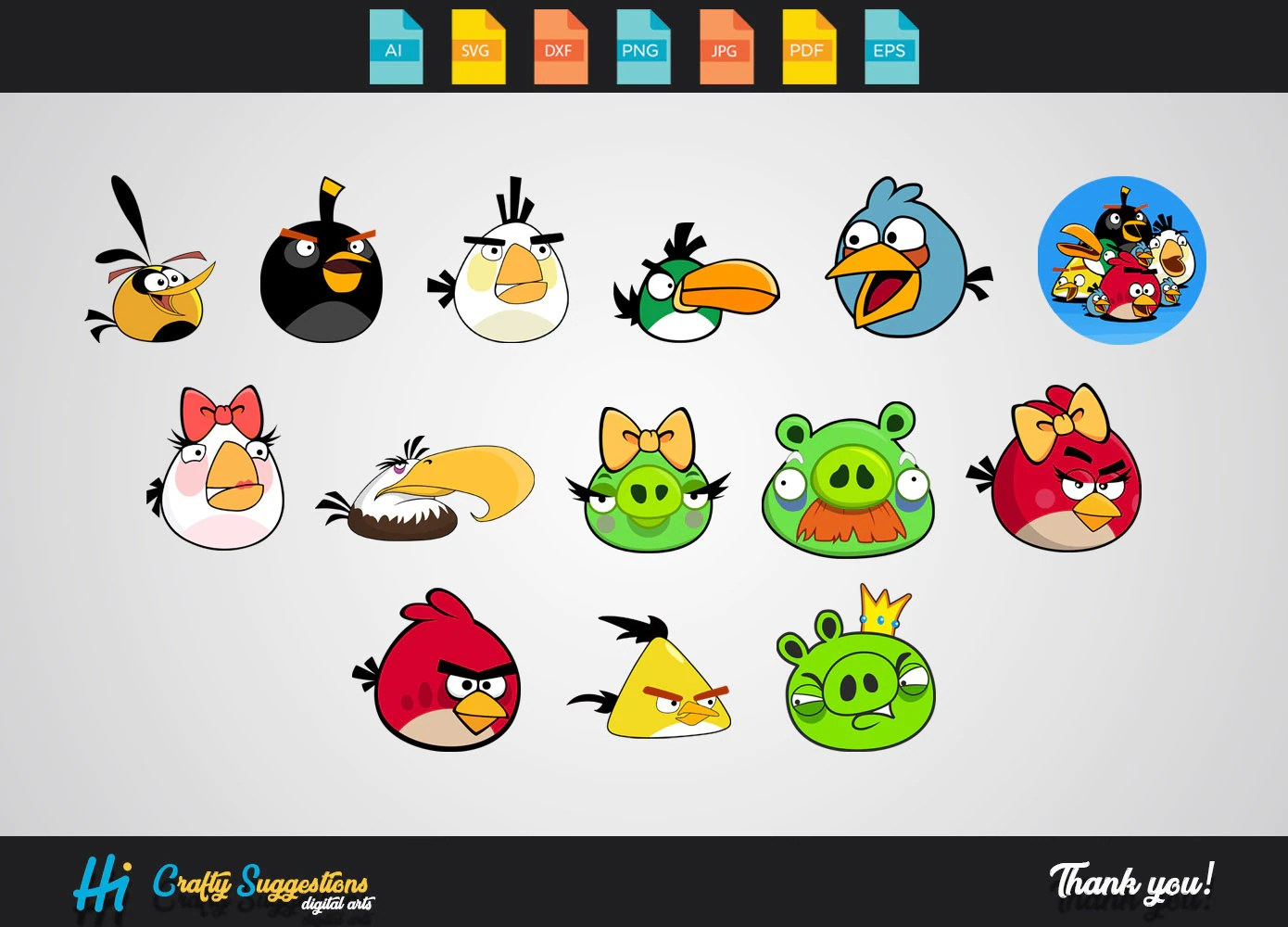 14x Angry Birds Clipart Svg Eps Cricut Cutting File