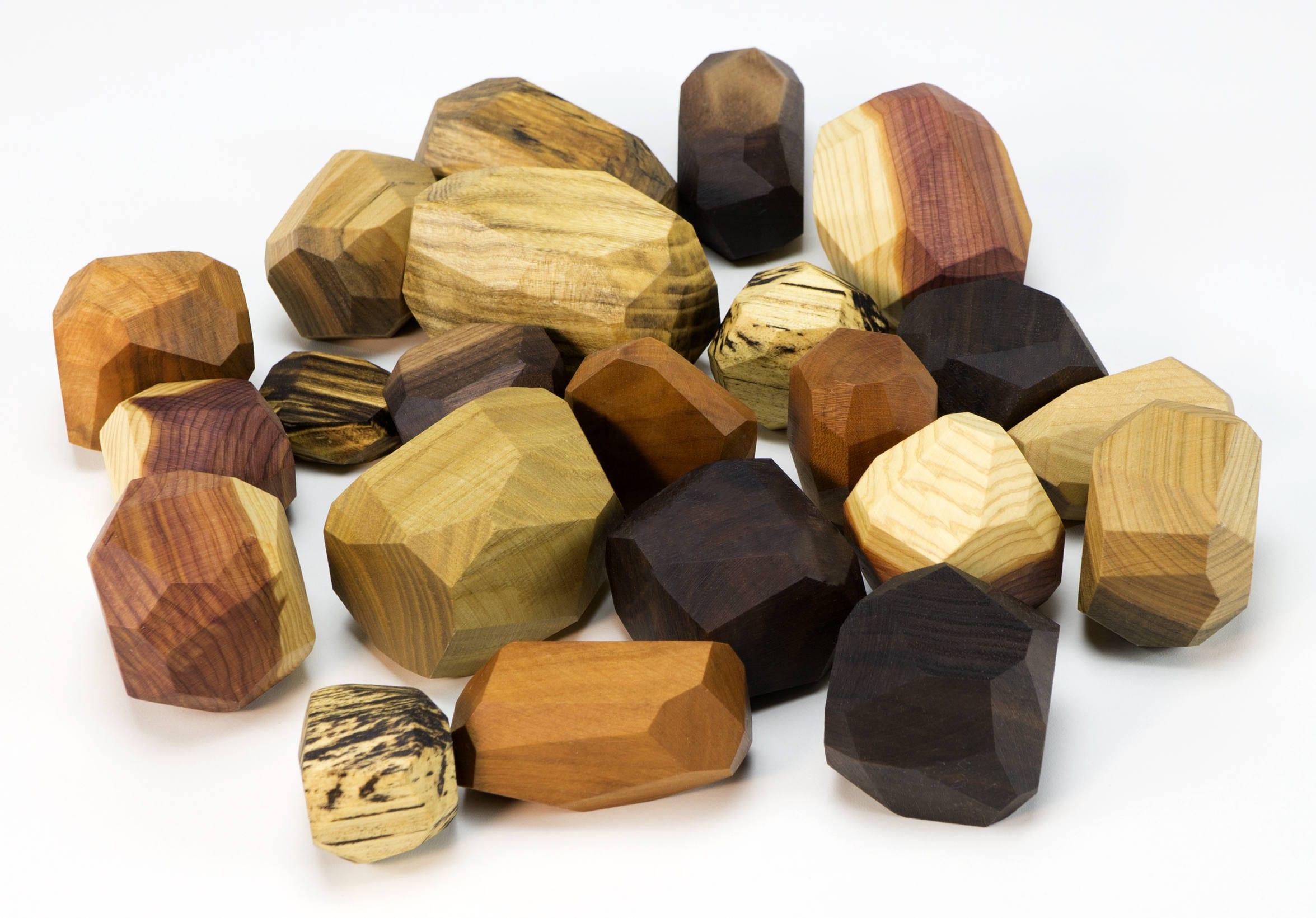 22 piece Tumi Ishi set wooden blocks Wood Stones Baby image 1
