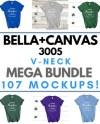 Mega Bundle Bella Canvas 3005 V Neck T Shirt Mockup 107 Etsy