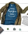 Bella Canvas 3001 Mockup Heather Blue Teal T Shirt Dad Father Etsy