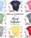 Bella Canvas 3001 Floral Collection Feminine Knotted T Shirt Etsy