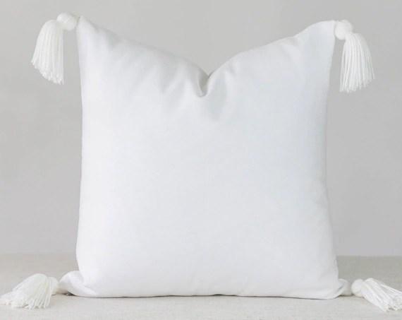 white tassel pillow online