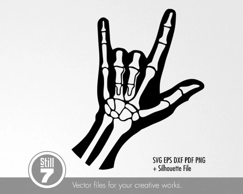 Download X Ray Hand Love Sign svg cutting file eps dxf pdf png   Etsy