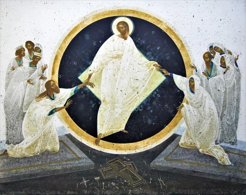 Resurrection original art print on natural canvas and image 0