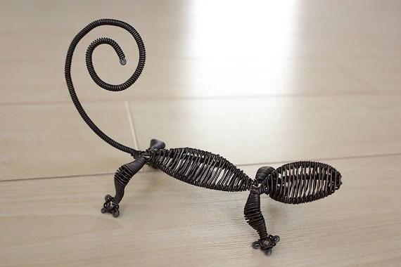 fait a la main decoration reptiles de lezard fil aluminium marron