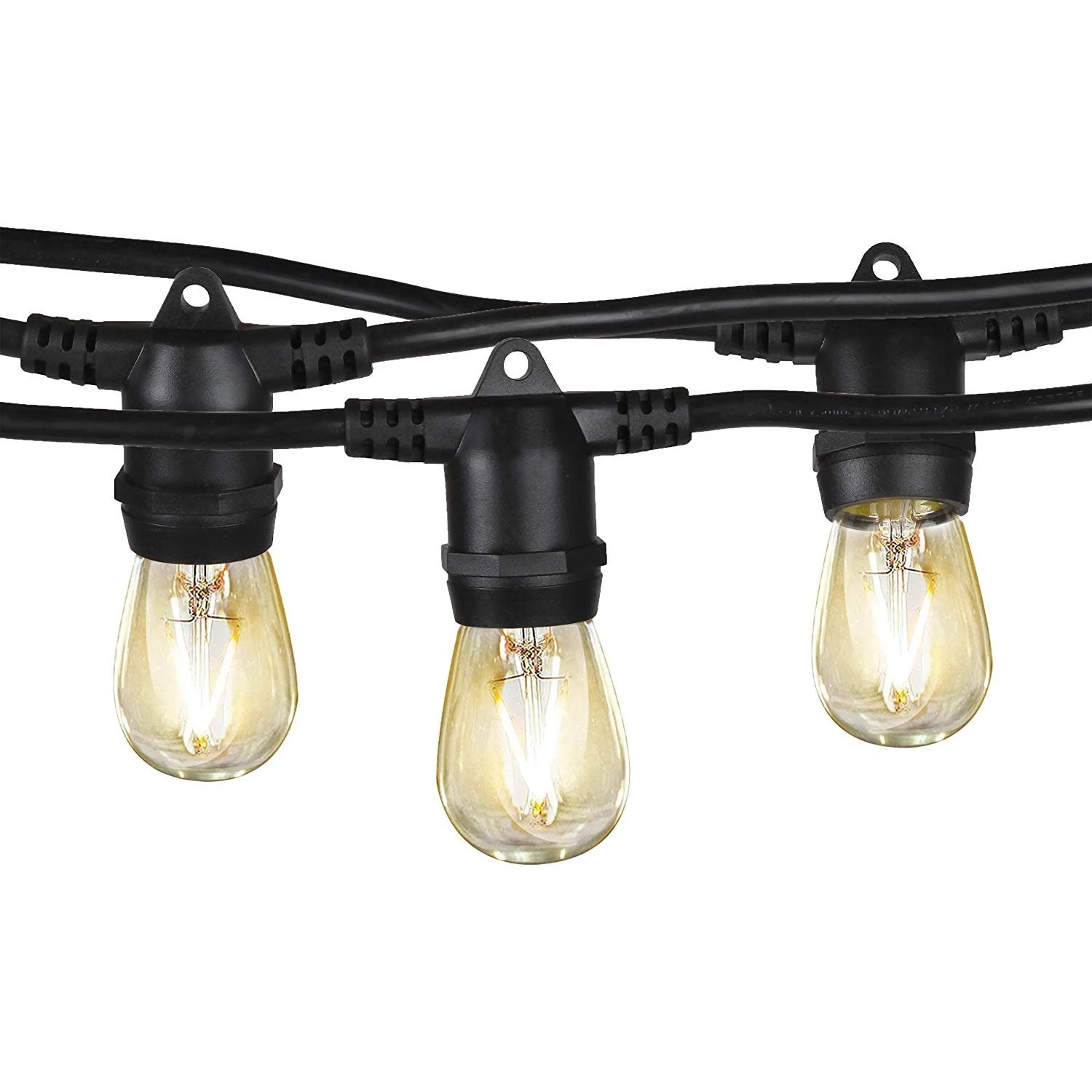 24ft outdoor led string lights with 12 sockets for patio etsy