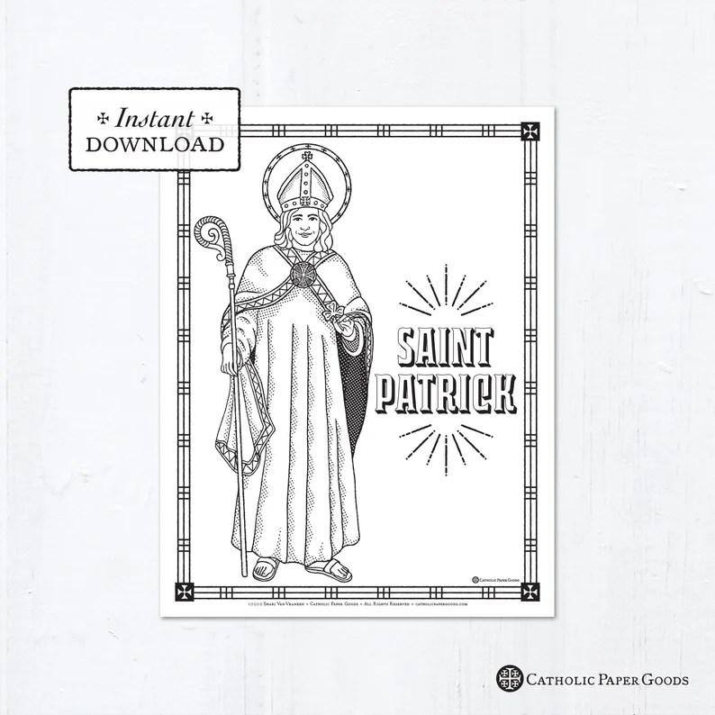 Catholic Coloring Page Saint Patrick Catholic Saints Etsy