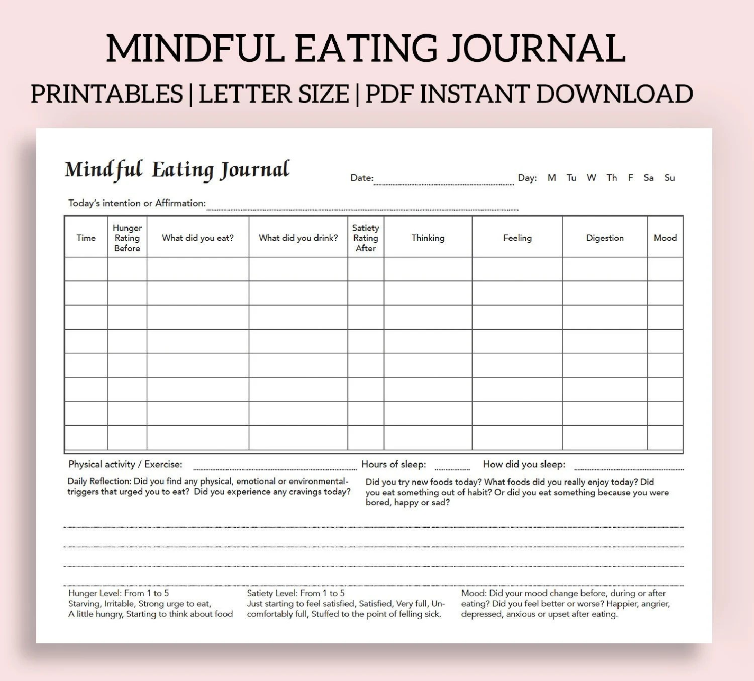 Mindful Eating Journal Intuitive Eating Journal Food