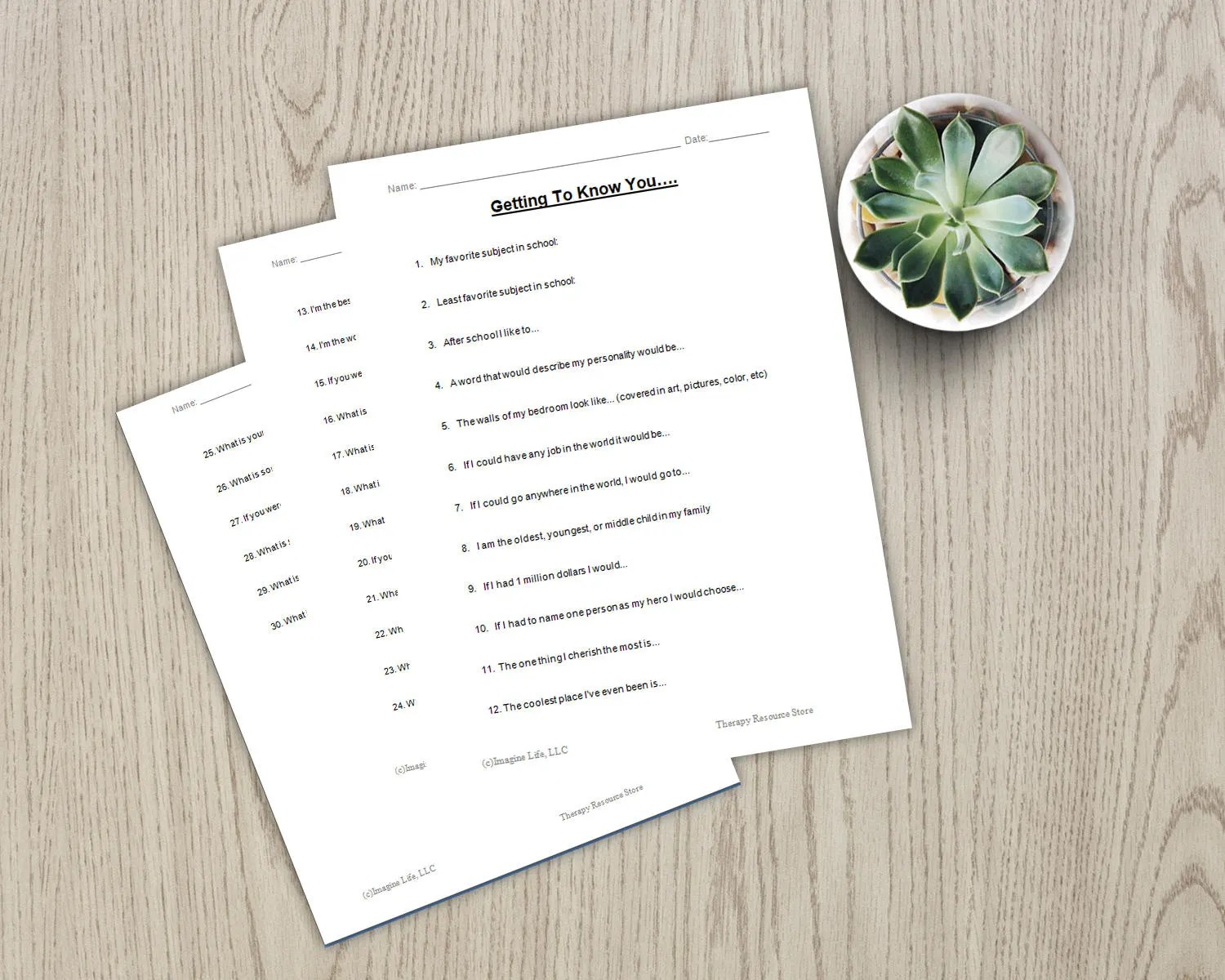Counseling Therapy Getting To Know You Questionnaire For