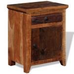 Handmade Solid Wood Bedside Table Cabinet Vintage Retro Wooden Nightstand Drawer Large Door Rustic End Table Bedroom Living Room Furniture