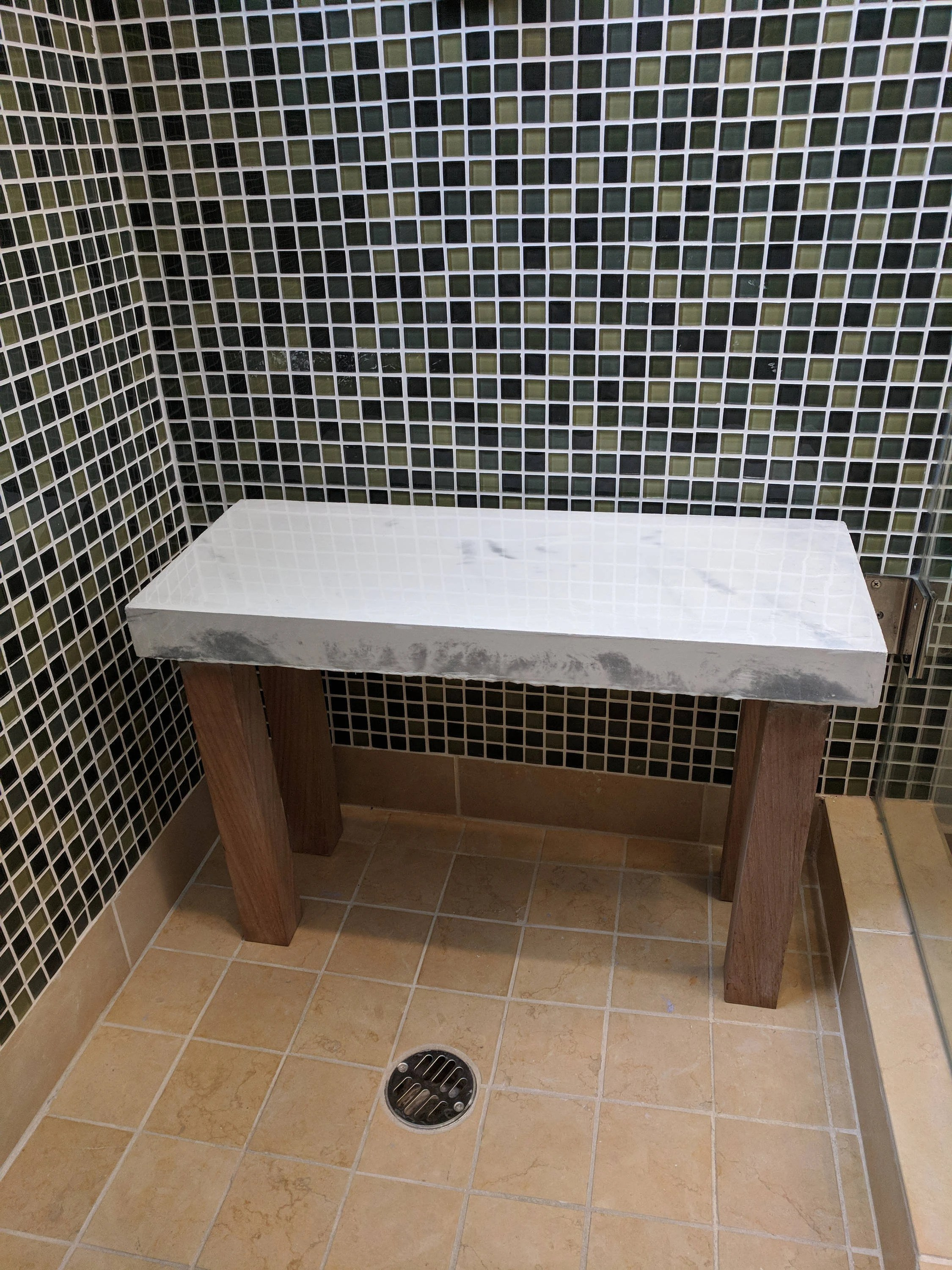 Custom Concrete Shower Bench With Teak Legs Size And Color