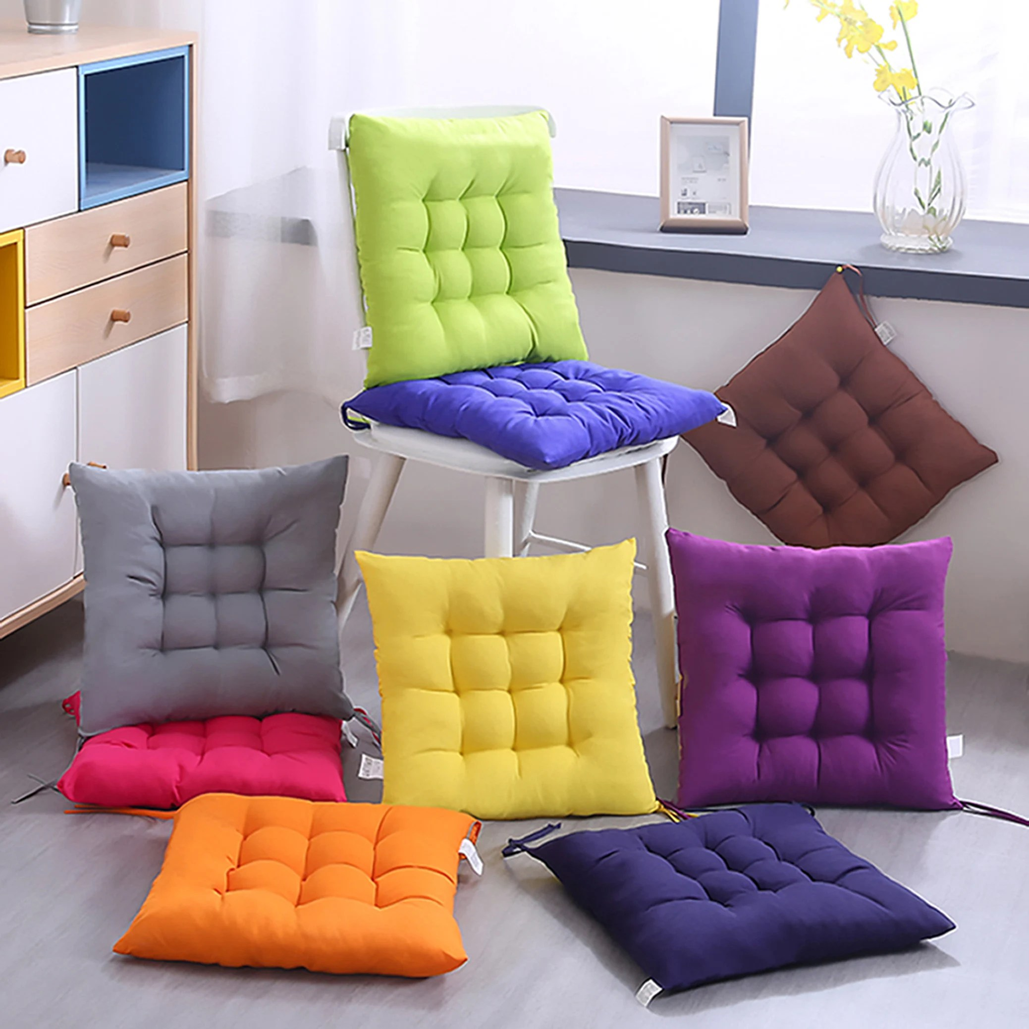 Dining Chair Cushions With Ties Kitchen Seat Pads Indoor Chair Pads Office Patio Bistro Rocking Wicker Pillows Tufted Thick Square