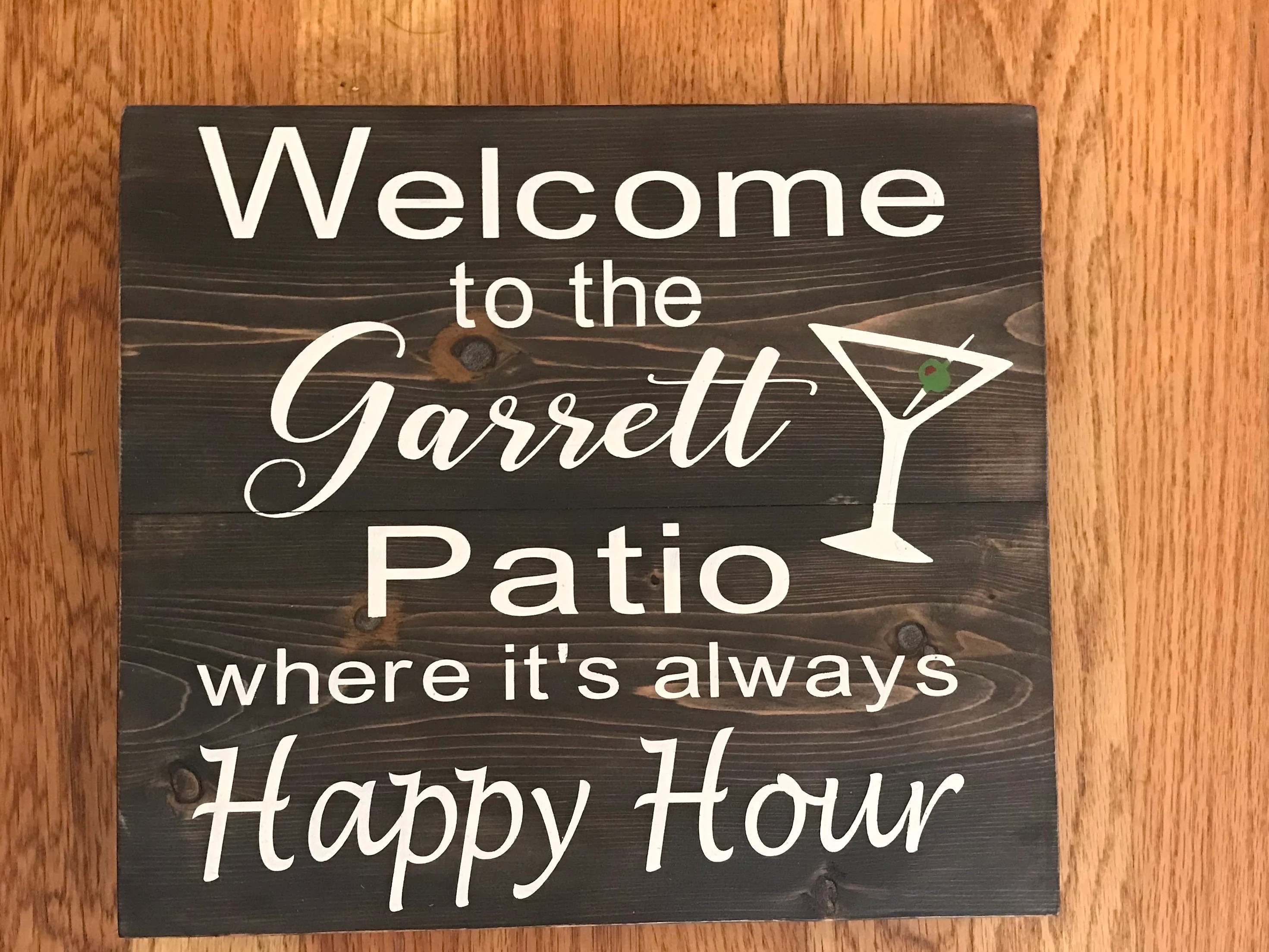 welcome to the patio personalized name sign wood signs happy etsy