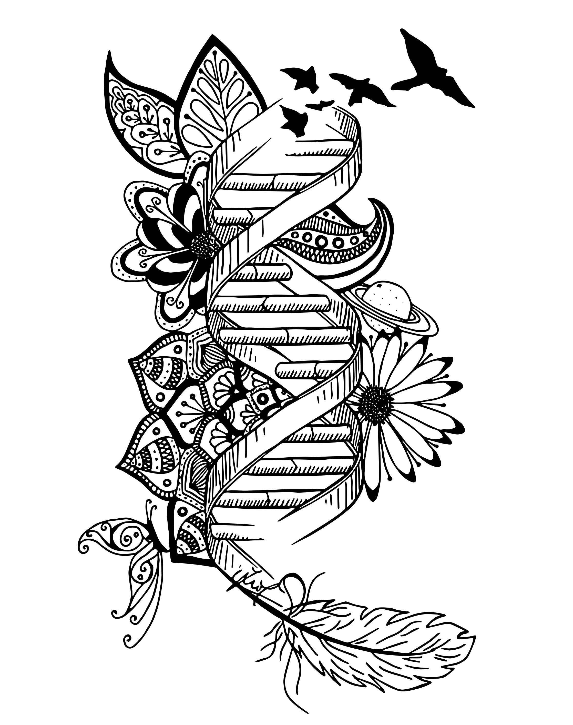 Dna Drawing Home Decor Wall Art Genetics Lovers Instant