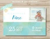 Birth announcement postcard customizable boy bubbles & glitter card