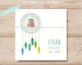 Personalisable square birth-share boy colored feathers
