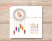 Personalized girl birth announcement square feathers colorful