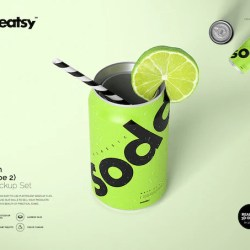 Can Mockup Set Type 2 Soda Can Template Custm Can Etsy