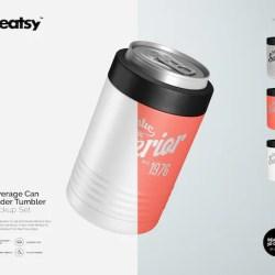 Beverage Can Holder Cooler Mockup Set Tumbler Tempalte Etsy