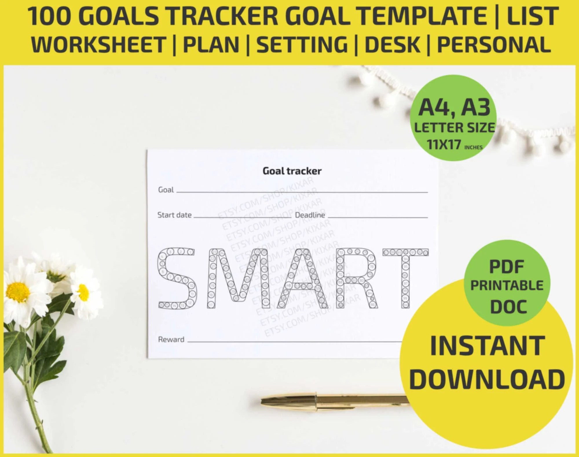 100 Goals Tracker Goal Template Coloring Printable