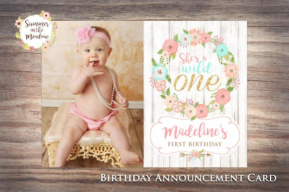 wild one birthday announcement card with photo first birthday announcement she s a wild one