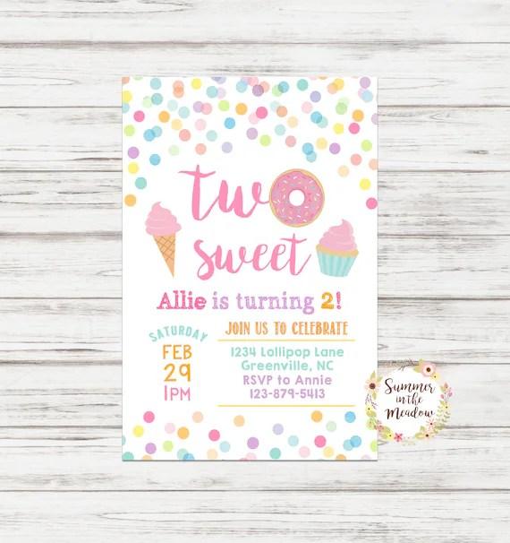 two sweet birthday invitation donut
