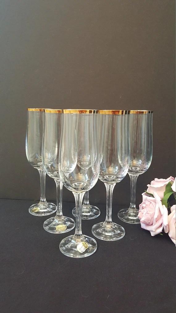 Vintage Bohemia Crystal Champagne Flutes Czech Crystal Etsy