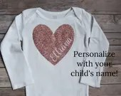 Personalized Name in Heart Bodysuit, Baby Girl Clothes, Baby Boy Clothes, Valentines Day Outfit