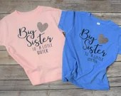 Big Sister to a Little Mister, Big Sister to a Little Sister, Gender Reveal Shirt Set, Little Sister, Big Sister, Little Brother