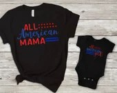 Set of 2, Daddy and Me, Mommy and Me, All American Dad, All American Mama, All American Girl, All American Boy, Matching Family Shirt Set