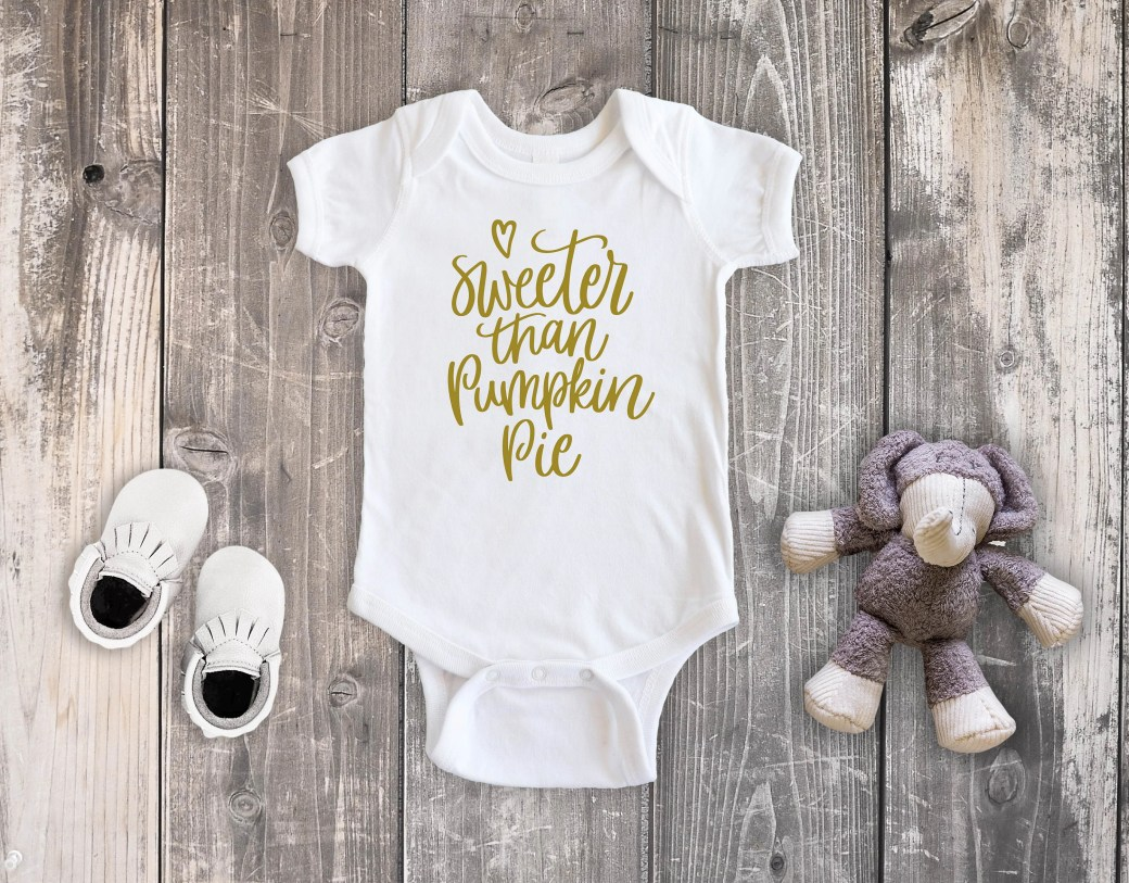 Sweeter Than Pumpkin Pie Baby Bodysuit Toddler Shirt, Fall Shirt, Newborn Baby Outfit, Baby Shower Gift, Take Home Outfit