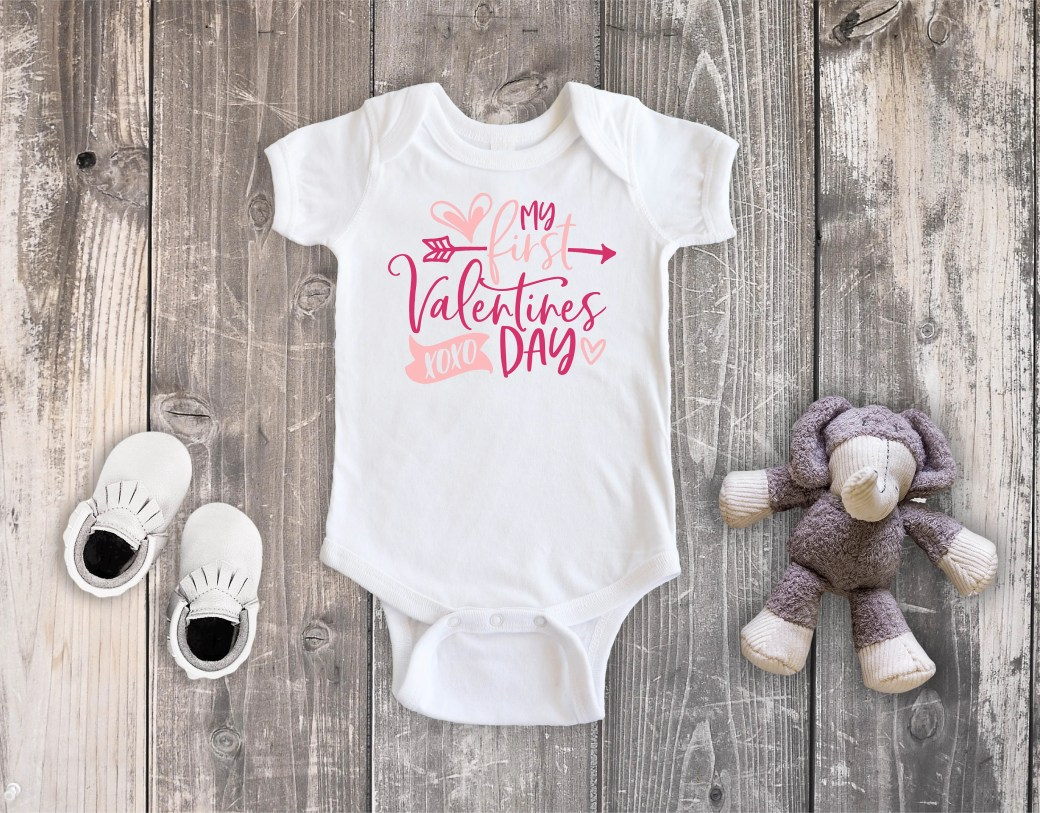My First Valentine's Day Bodysuit Toddler Shirt, Valentine Love Heart Shirt, Newborn Baby Outfit,  Baby Shower Gift, Take Home Outfit