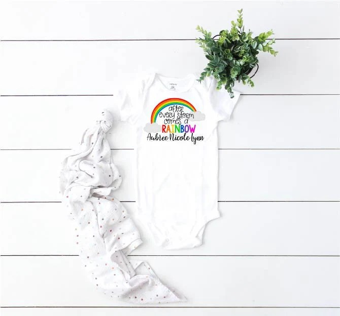 After Every Storm Comes A Rainbow, Rainbow Baby, Rainbow Baby Outfit, Rainbow Baby Announcement, Rainbow Baby Gift