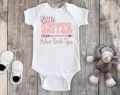 Little Sister Bodysuit, Little Sister Coming Home Outfit, Little Sister Newborn Outfit, Baby Girl Clothing, Girl Bodysuit