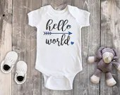 Hello World Bodysuit, Newborn Baby Outfit, Baby Girl Outfit, Baby Boy Outfit, Baby Shower Gift, Take Home Outfit, Hospital Outfit