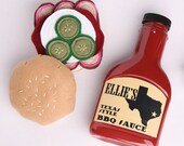 Personalized Play Food BBQ Set - Pretend Texas BBQ Set - Toy BBQ Set - Barbeque Felt Food - Barbecue Sauce Brisket Sandwich Play Food