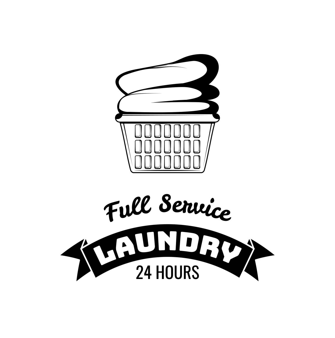 Download Laundry label SVG Basket with clothes Laundry service logo ...