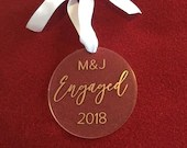 Our First Christmas Engaged Ornament | Personalized Acrylic Tree Ornament | Engaged Christmas Ornament | Engagement Gift