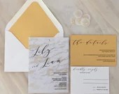 Gold Marble Vellum Wedding Invitation | Modern Vellum Invite | Vellum Overlay, Card Backing | Vellum Wedding Invitation | Custom Invite