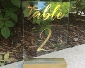 Wedding Table Numbers | Gold Table Numbers | Acrylic | Gold Vinyl | Table Signs | Acrylic Table Numbers | Wedding Decor | Clear Table Number