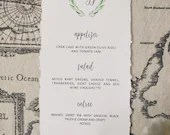 Deckle Edge Wedding Menu | Olive Wreath Crest Menu | Monogram Wedding Menu | Wedding Reception Menu | Handtorn Deckle Edge Paper Menu