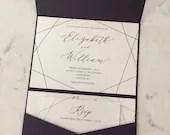 Geometric Wedding Invitation | Modern Geometric Invite | Modern Pocket Invitation Suite | Printed Wedding Invitation Suite | Purple Pocket